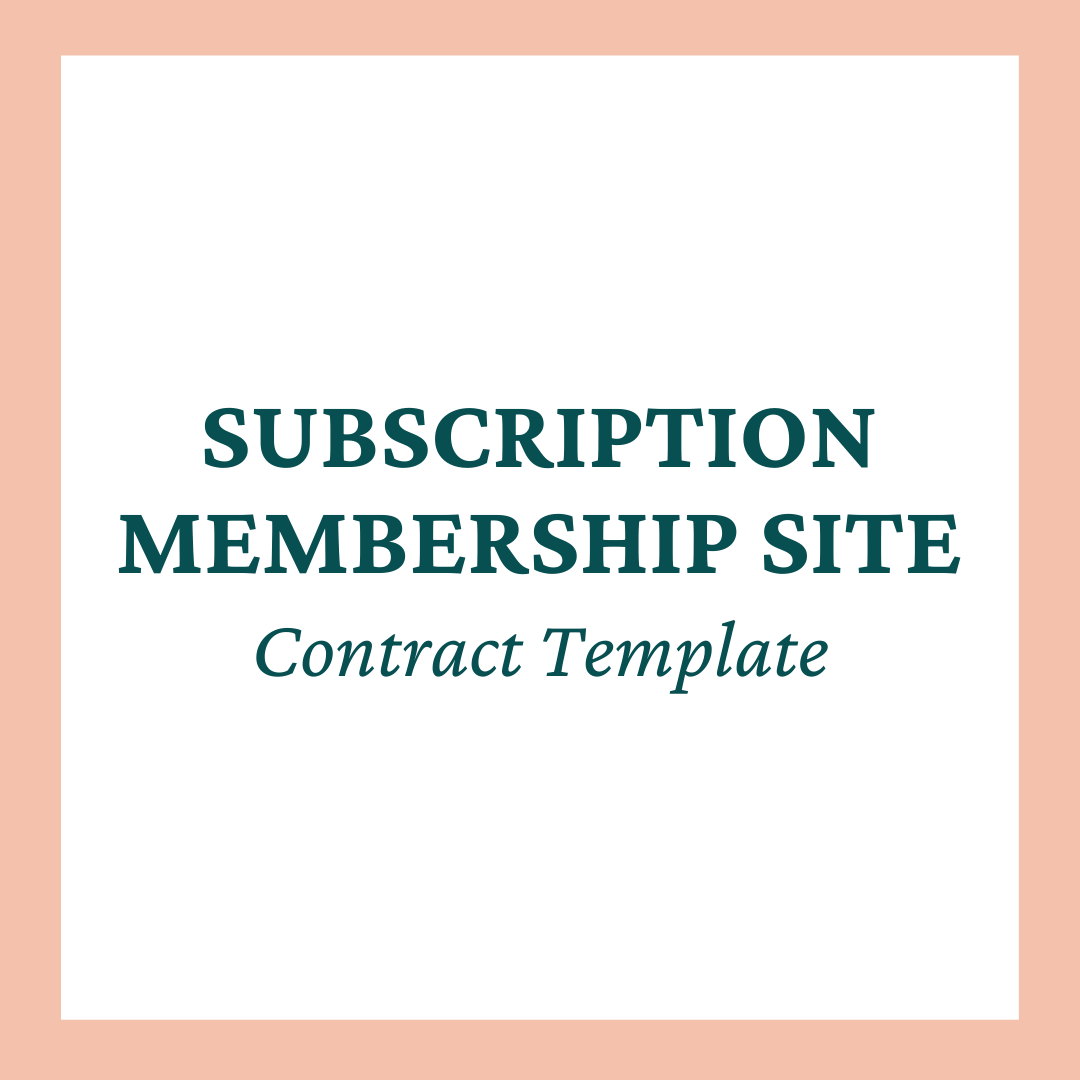 Subscription Membership Site Contract Template