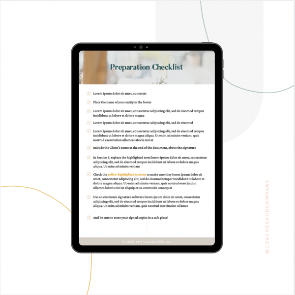Contract template Preparation Checklist Contract Templates - Coaches and Company
