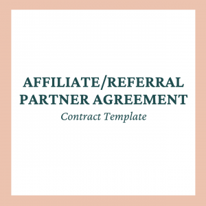 Affiliate Referral Partner Agreement Contract Template for Coaches Online Businesses